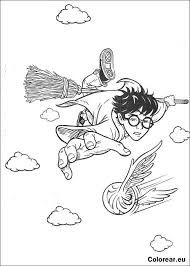 Harry Potter Flying Brooms Bring Coloring Pages
