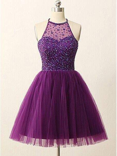 A-Line Short Sequins Purple Prom Evening Bridesmaid Cocktail Homecoming Dresses 99602088