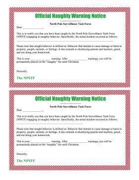 Naughty list warning notice from santa free printable free naughty list warning notice from santa free printable free printable elves and santa spiritdancerdesigns Choice Image