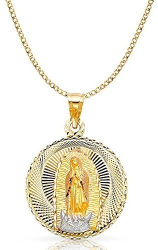 14K Tri Color Gold Diamond Cut Crucifix Jesus Cross Stamp Charm Pendant with 2.1mm Valentino Chain Necklace