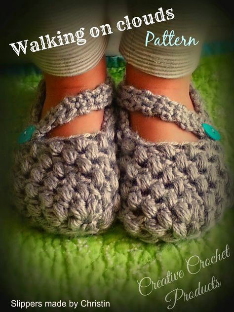*Creative Crochet products*: Walking on Clouds - Free crochet booties pattern! I love this  puffy stitch pattern! For 3 year olds. ✿⊱╮Teresa Restegui http://www.pinterest.com/teretegui/✿⊱╮