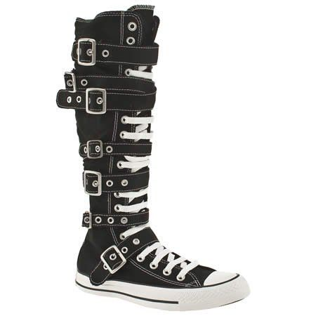 10c9d1cc43dd3b Converse All Star Zipper Buckle Lace Black Boots Mens 8 Womens 10 Knee High
