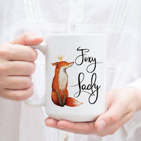 Foxy Lady mug. Coffee Mug for Her. Wife Mug with fox and