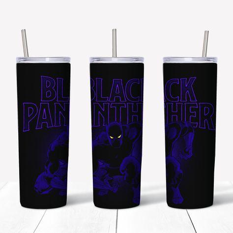 Marvel Black Panther Comic Book Sublimation 20oz Skinny Drink Tumbler