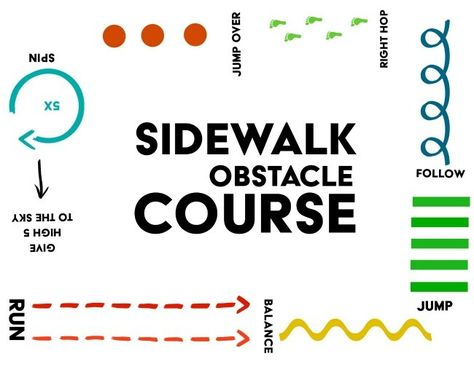 This sidewalk obstacle course will not only keep kids active, but also will do a lot of good things to their brain, their memory and even sleeping habits. A perfect way to use Walkie Chalk! Motor Activities, Summer Activities, Physical Activities, Preschool Activities, Numbers Preschool, Physical Education Games, Outdoor Activities, Summer School, Summer Kids