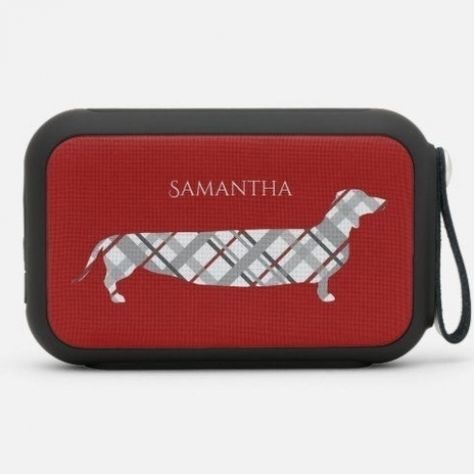 Plaid Dachshund on Red Personalised Bluetooth Speaker dachshund care, wirehaired dachshund, easter dachshund #dachshundbrother #dachshundstagram #dachshundslover, 4th of july party #puppy #Labrador #dog