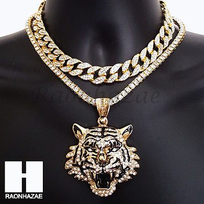 Hip Hop Iced Out Premium Drake Tiger Miami Cuban Choker Tennis Chain Necklace B Gold Chains For Men Chains For Men Fashion Jewelry