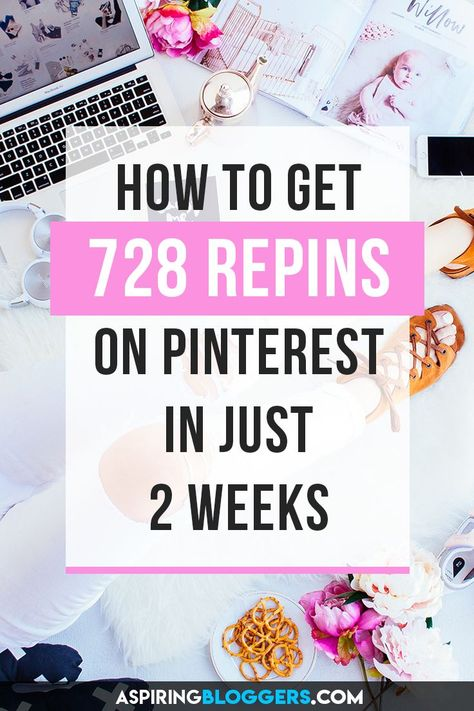 Want to get lots of traffic with Pinterest? Learn how to get 728 repins in your first 2 weeks of using Pinterest! Pinterest marketing tips, pinterest tips, get more repins, grow pinterest followers, grow pinterest traffic.
