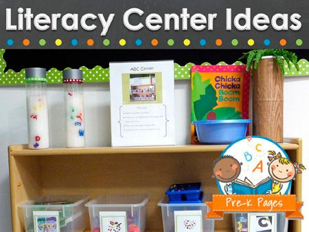 Literacy center ideas for pre-k and kindergarten classrooms.