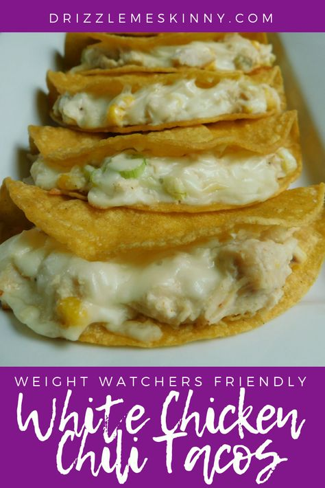 White chicken chili tacos – Drizzle Me Skinny! Need more spices, but good tacos! Weight Watcher Dinners, Plats Weight Watchers, Weight Watchers Diet, Weight Watchers Enchiladas, Weight Watchers Recipes With Smartpoints, Weight Watcher Recipes, Skinny Recipes, Ww Recipes, Low Calorie Recipes