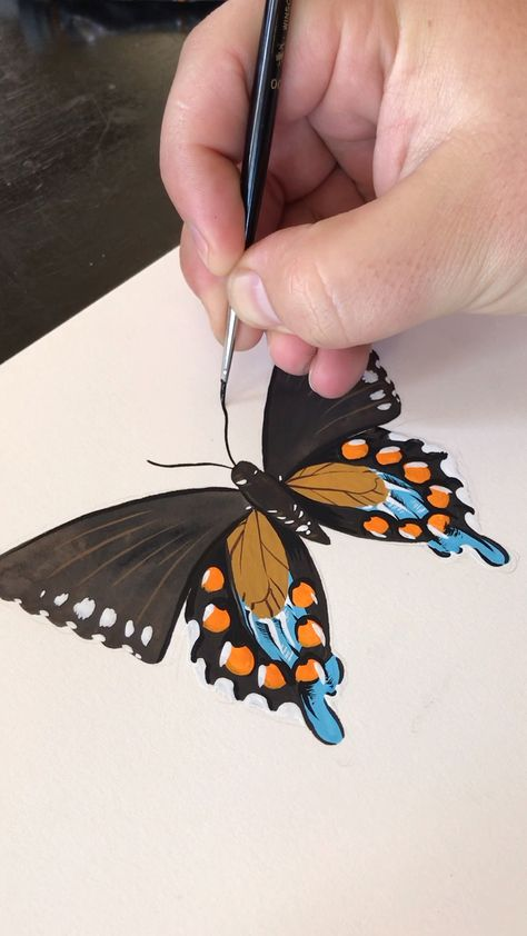 Gouache Painting a Butterfly by Philip Boelter