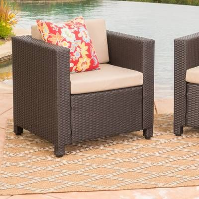 Furst Outdoor Rattan Loveseat And Table Set With Cushions Patio