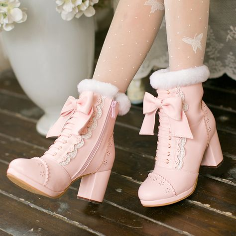 Color:pink,apricot,Size is for Foot B(M) US D(M) US Men = EU size 35 = Shoes length Fit foot length 22 Pink/apricot bowknot lolita heels boots Pink/apricot bowknot lolita heels boots