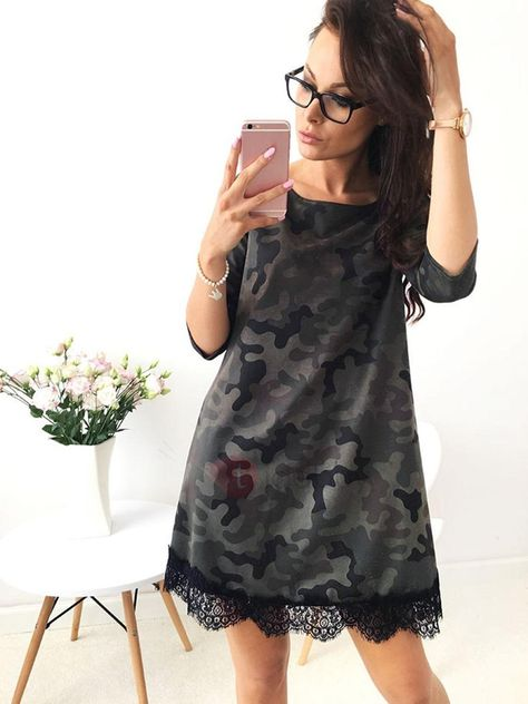 TideBuy - TideBuy Camouflage Short Sleeves Lace Patchwork Womens Dress - AdoreWe.com