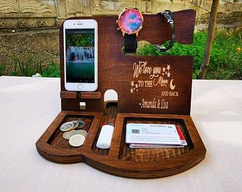 Good birthday gift for friend 3 slot dock charger stand dad. wooden holder iphone