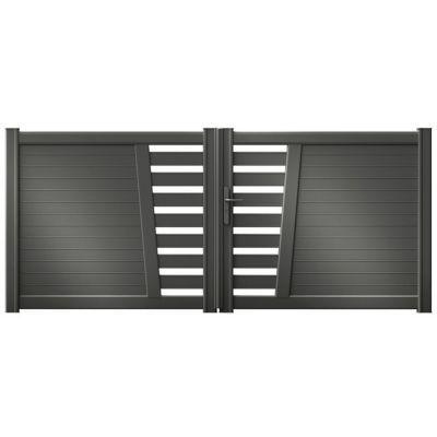 Portail Aluminium Carco Gris Antique 350 X H 132 Cm En 2020 Portail Aluminium Portail Et Portail Alu