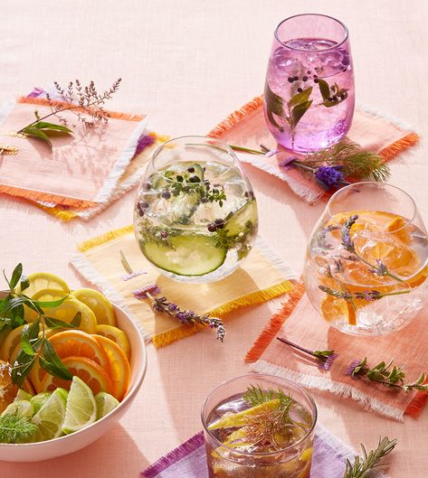 Spanish-style gin tonics (hold the and) are typically finished with handfuls of fresh herbs, citrus or cucumber, and spices like peppercorns and juniper berries. They're completely customizable for your taste preference and what you've got stocked in your kitchen. #gin #cocktails #summer #refreshing #bhg