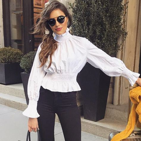 High Neck Smock Blouse with Long Cuff Sleeves