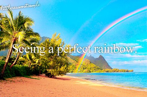 Seeing a perfect rainbow.