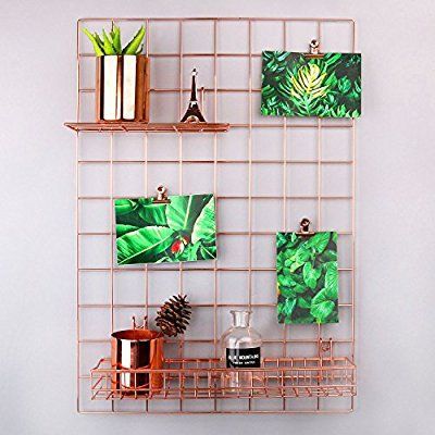 Amazon Com Simmer Stone Rose Gold Wall Grid Panel For Photo Hanging Display Wall Decoration Organize Photo Wall Decor Dorm Decorations Wall Rose Gold Decor