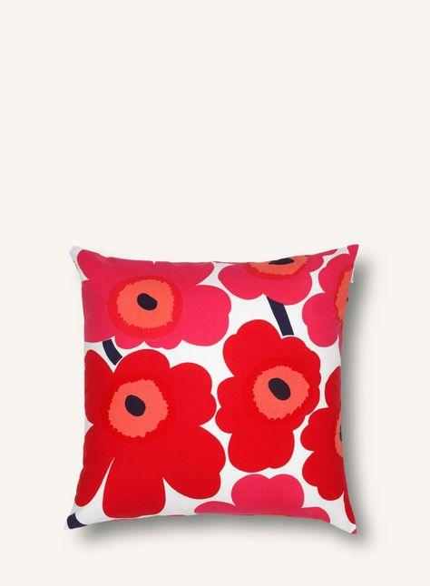 Cuscini Marimekko.Pieni Unikko Cushion Cover 50x50 Cm White Red Cuscini Fodere