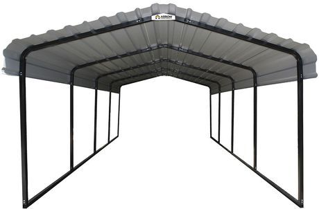 Arrow Black Eggshell Steel Carport Walmart Canada In 2020 Steel Carports Steel Roof Panels Portable Carport