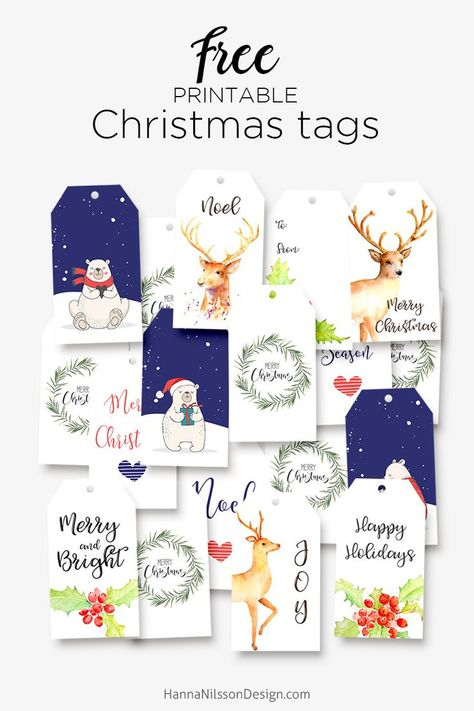 Free Printable Christmas Gift Tags from Hanna Nilsson Design {subscription required}