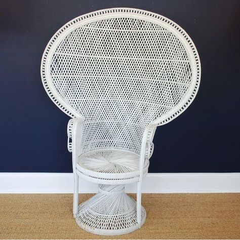 Vintage Mid Century White Peacock Chair Peacock Chair Chair