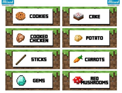 Ultimate Minecraft Party Printable Food Labels Mixedstew Com Minecraft Food Minecraft Party Food Minecraft Party