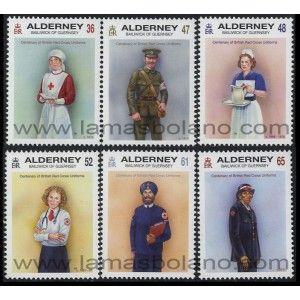 SELLOS DE ALDERNEY 2011 - CENTENARIO DE LOS UNIFORMES BRITANICOS DE LA CRUZ ROJA - 6 VALORES - CORREO