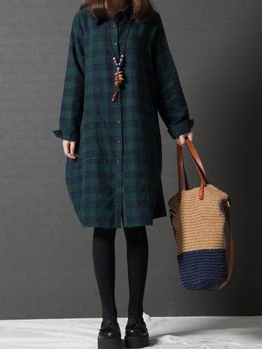 13e145b3506d #BFCM #CyberMonday #PopJulia - #PopJulia Green Checkered/Plaid H-line Long  Sleeve Shirt Collar Casual Dress - AdoreWe.com