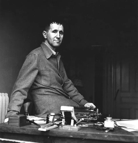 Bertolt Brecht at his desk
