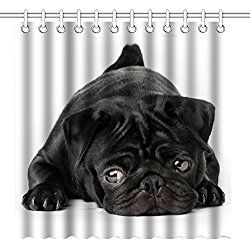 Pug Shower Curtain Set Pug Puppy Black And White Art Waterproof