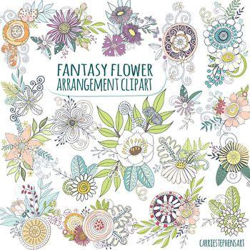 Fantasy Clipart De Fleurs De Printemps Compositions Florales Arrangements Clip Art Flower Clipart Scrapbook Graphics