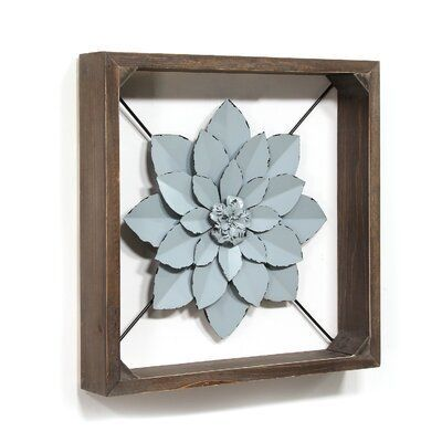 Gracie Oaks Framed Metal Flower Wall Decor Finish Blue Flower Wall Decor Square Wall Art Metal Flowers