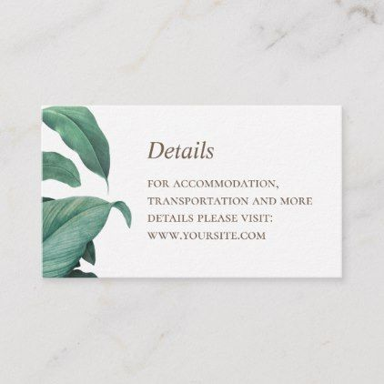 Tropical Greenery Wedding Details Botanical Green Enclosure Card
