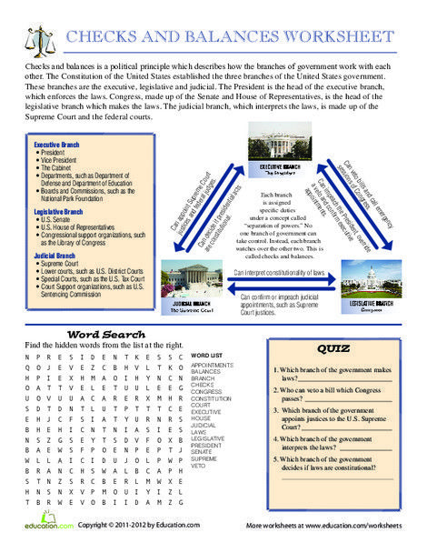 Checks And Balances System Worksheet Education Com Check And Balance Social Studies Education Social Studies Middle School 7th grade civics worksheets