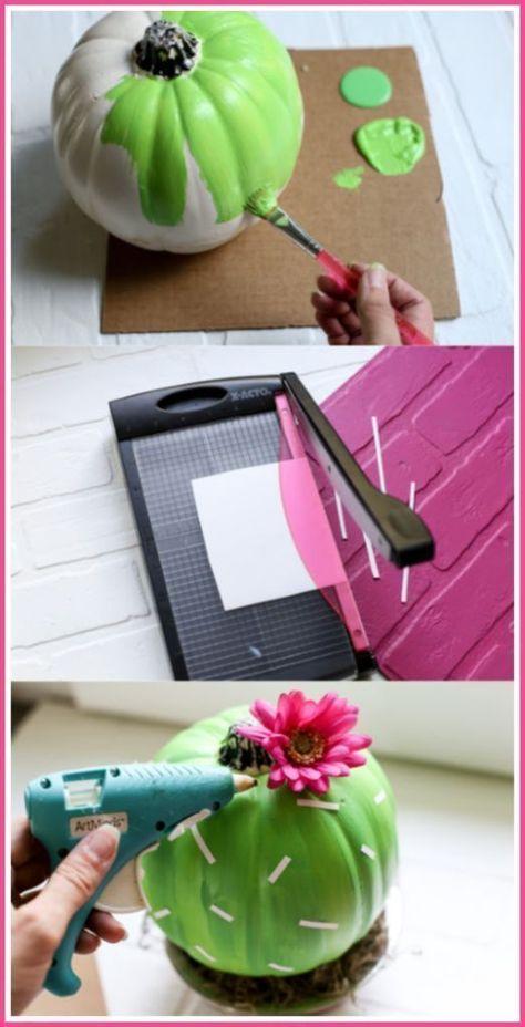 Cactus Pumpkin Craft Idea - it's so easy and fun! - Sugar Bee Craft ...#bee #cactus #craft #easy #fun #idea #it39s #pumpkin #sugar #Kaktus diy products