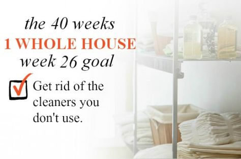 40 Weeks 1 Whole House Week 26 Goal: Get rid of the cleaning supplies you don't use   Organize 365
