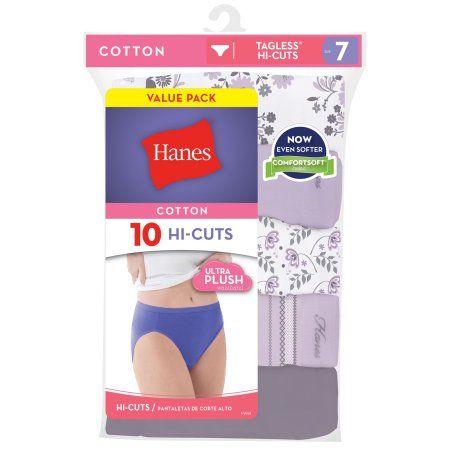 Hanes Hi-Cut Panties Panty 10 Pack Womens Underwear Assorted Colors Value Cotton
