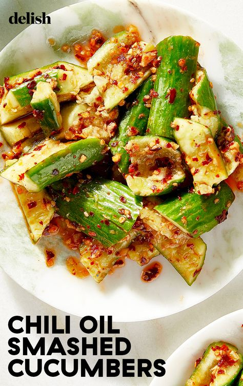 This smashed cucumber salad is drizzled with fragrant hot chili oil and is cool and crisp and so refreshingly addictive.