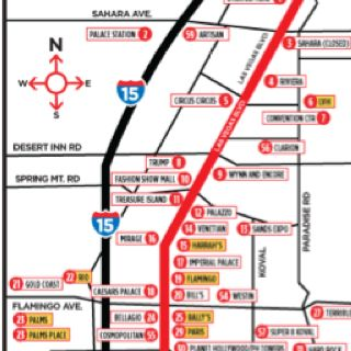 Las Vegas Strip and Fremont Street Map  2012 Summer Vacation
