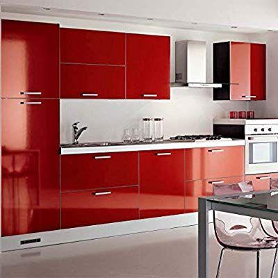 Kinlo 5 0 61m Papier Peint Auto Adhesif Rouge Armoire De Cuisine En Pvc Impermeable Style Moderne Sticker Meuble Cuisine Armoire De Cuisine Choses De Cuisine