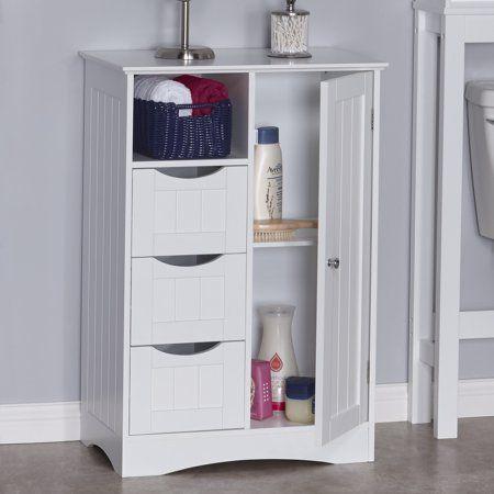 Riverridge Ashland Collection 1 Door 3 Drawer Floor Cabinet White Cabinet Shelving Storage Storage Cabinets