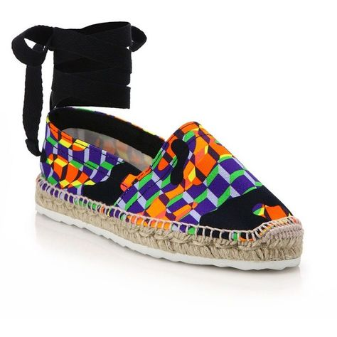 Pierre Hardy Cube-Print Ankle-Wrap Espadrille Flats ($410) ❤ liked on Polyvore featuring shoes, flats, apparel & accessories, multi, round toe flats, ankle strap flats, slip on flats, ankle wrap flats and espadrilles shoes