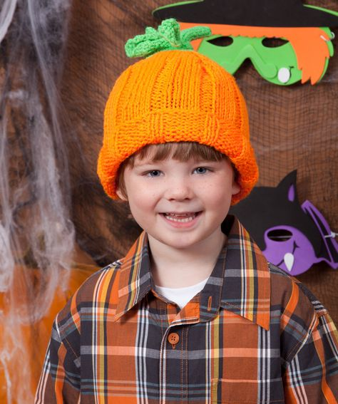 Halloween Knit Pumpkin Hat from Red Heart yarn