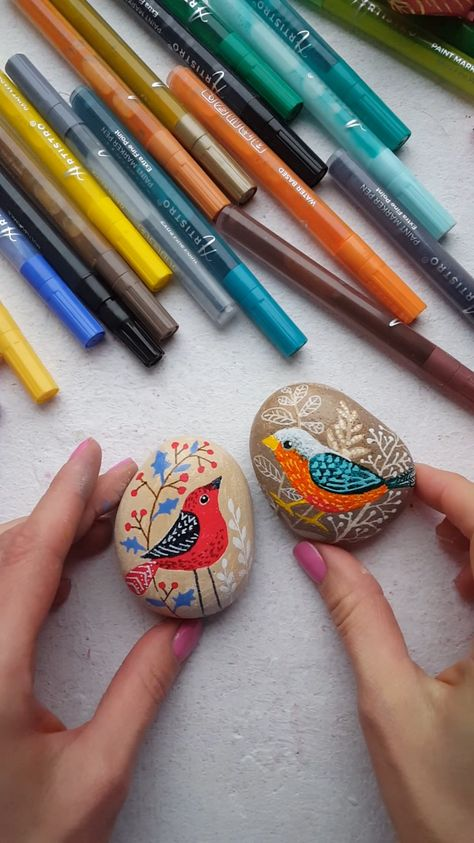 Awesome painted rocks with birds. Cool DIY video tutorial with rock painting. Step-by-step tutorial with Artistro paint pens. The Artistro Paint Pens are made with the HIGHEST QUALITY water-based ITALIAN IMPORTED INKS for a SMOOTH, CONSISTENT FLOW and GLOSSY, OPAQUE FINISH. The 0.7mm extra fine tipped nibs are MADE IN JAPAN in the tradition of HIGH ART CALLIGRAPHY for amazing detail work so that you can PRODUCE YOUR FINEST WORK every time.