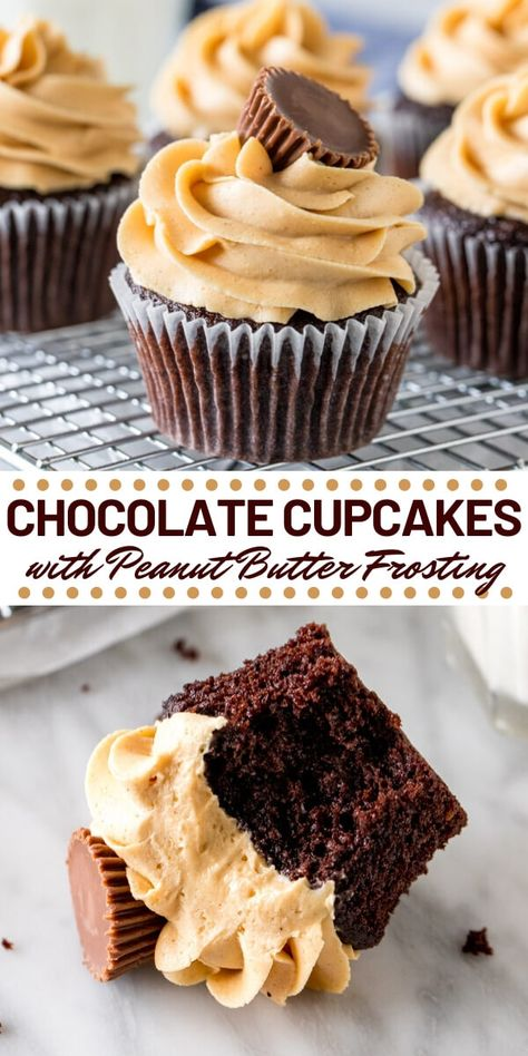 Chocolate Cupcakes with Peanut Butter Frosting - - Super soft, perfectly moist Chocolate Cupcakes with Peanut Butter Frosting. If you love peanut butter cups - then these chocolate peanut butter cupcakes are for you! Homemade Chocolate Cupcakes, Chocolate Peanut Butter Cupcakes, Chocolate Recipes, Chocolate Cupcakes Decoration, Chocolate Peanut Butter Frosting, Chocolate Cake, Frost Cupcakes, Yummy Cupcakes, Mocha Cupcakes