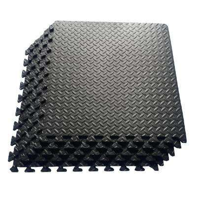 Multi Purpose Black 24 In X 24 In Eva Foam Interlocking Anti