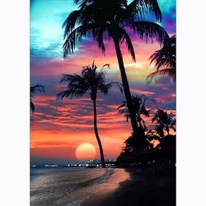 Beach Sunset with Palm Trees 5D Full Round Diamond Painting Kit 12